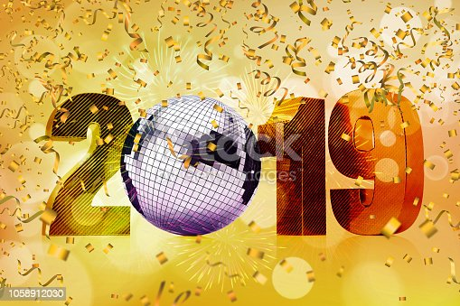 istock New Year Concept with 2019 Disco Ball and Confetti 1058912030