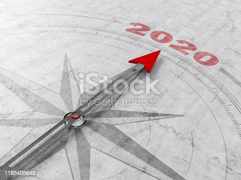 2020 New Year Concept with A Compass. 3d Render