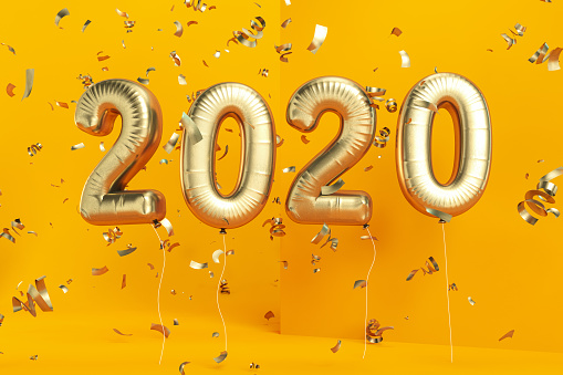 istock New Year Concept with Golden 2020 Balloons and Confetti on Yellow 1169761880