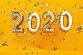 New Year Concept with 2020 Balloons and Confetti. 3D Render