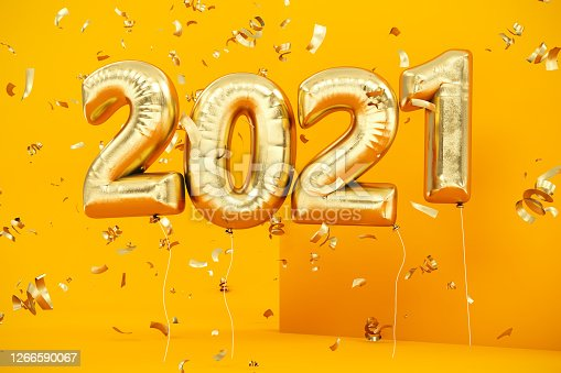 New Year Concept with Golden 2021 Balloons and Confetti on Yellow. 3d Render