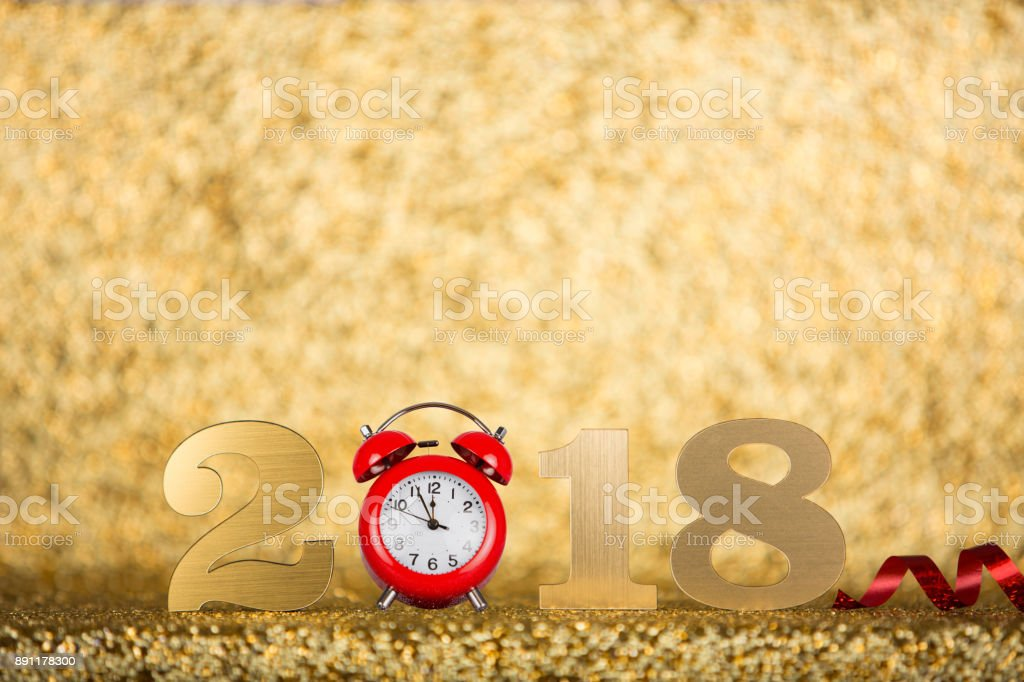 New year concepts 2018 countdown clock on gold background