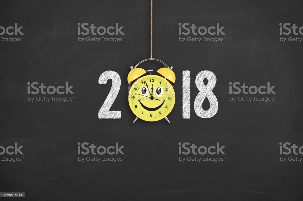 New year concepts 2018 countdown happy clock on blackboard