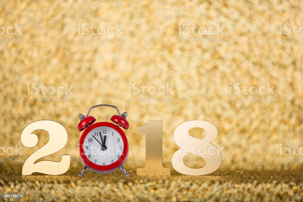 New year concepts 2018 countdown with red clock