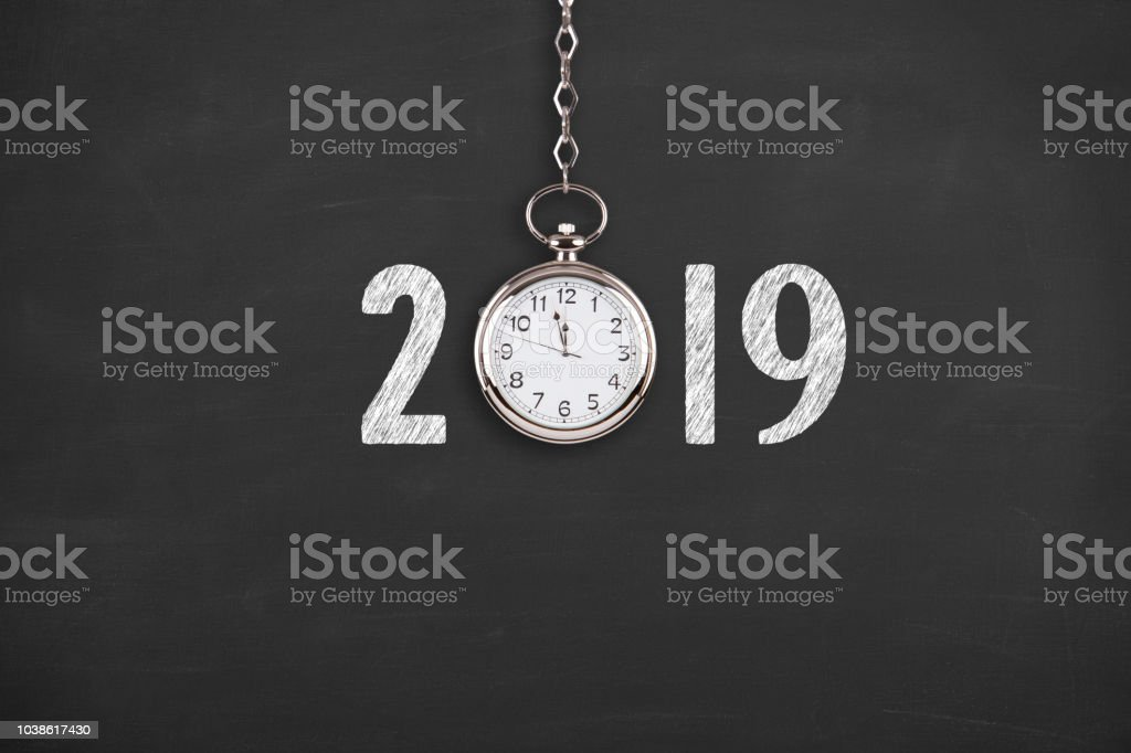 New year concepts 2019 countdown clock on chalkboard