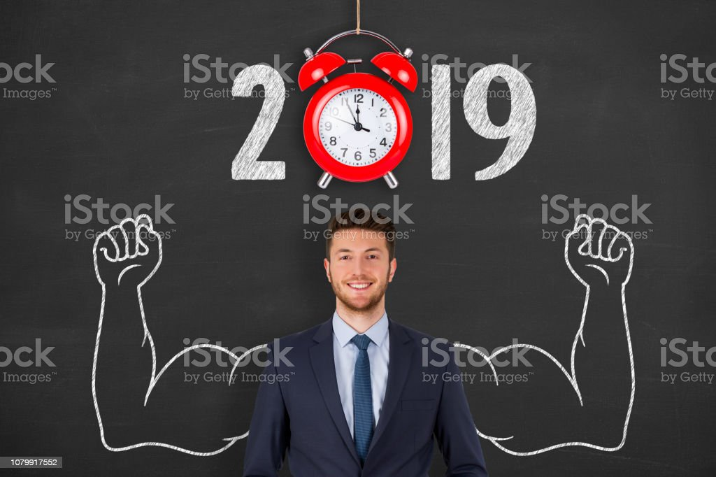 New year concepts 2019 countdown clock with red clock on blackboard
