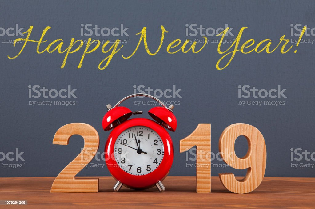 New year concepts 2019 countdown clock with red clock