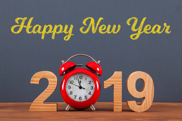 New year concepts 2019 countdown clock with red clock stock photo