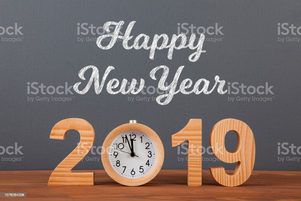 New year concepts 2019 countdown clock with wooden clock