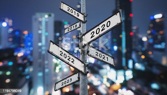 873333520 istock photo New year concepts on directional road sign 1194798049