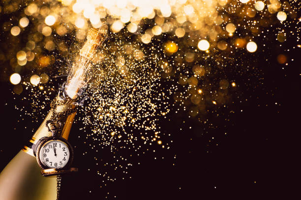 New year countdown with champagne stock photo