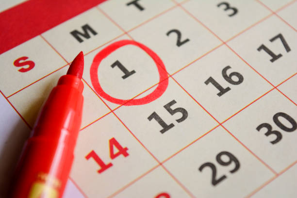 new year day marked with red marker - calendar date stock photos and pictures