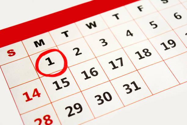 tag des neuen jahres markiert mit roten marker - kalender icon stock-fotos und bilder