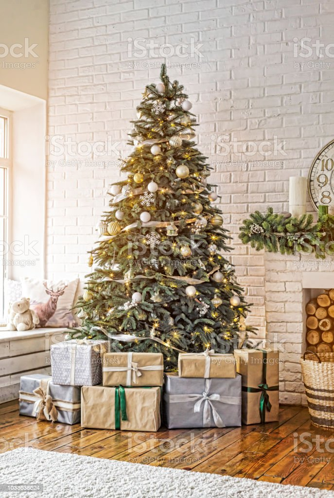 New Year Decorated Christmas Tree Christmas Cozy Home Interior Stock Photo Download Image Now Istock