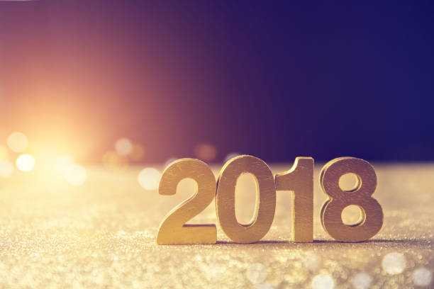 New year decoration 2018 with lighting effect and copy space. New year decoration 2018 with lighting effect and copy space. 2018 stock pictures, royalty-free photos & images