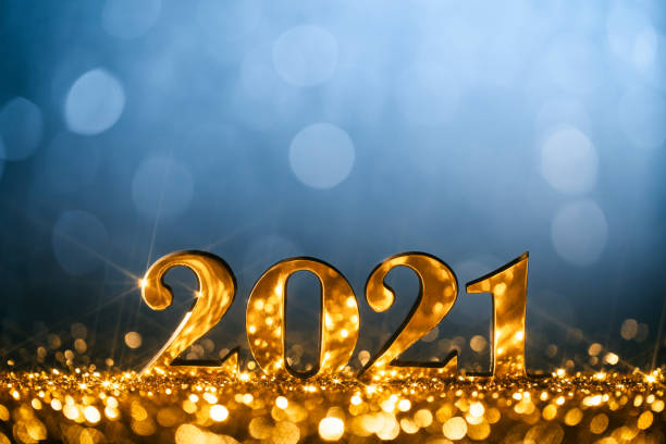 New Year Decoration 2021 - Gold Blue Party Celebration Christmas stock photo