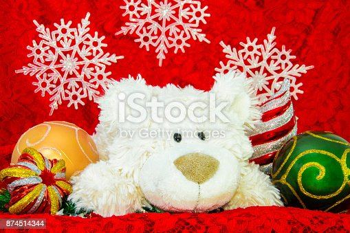 istock New Year Decoration, White bear, auspicious Ornaments and red envelope background. 874514344