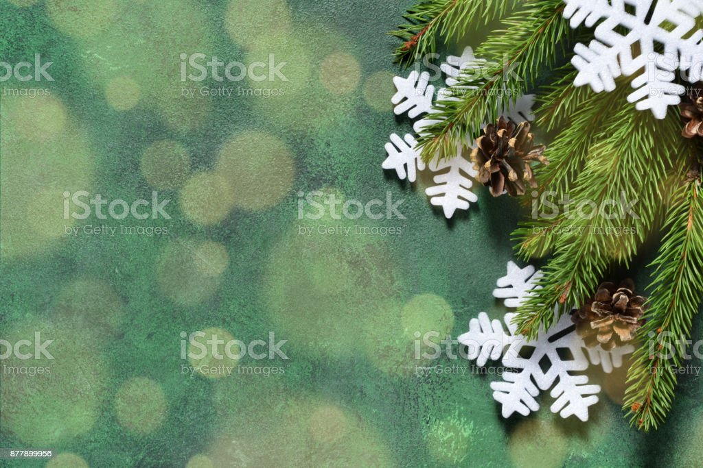 New Year decoration with bokeh effect on a green background. Merry Christmas and Happy New Year! stock photo