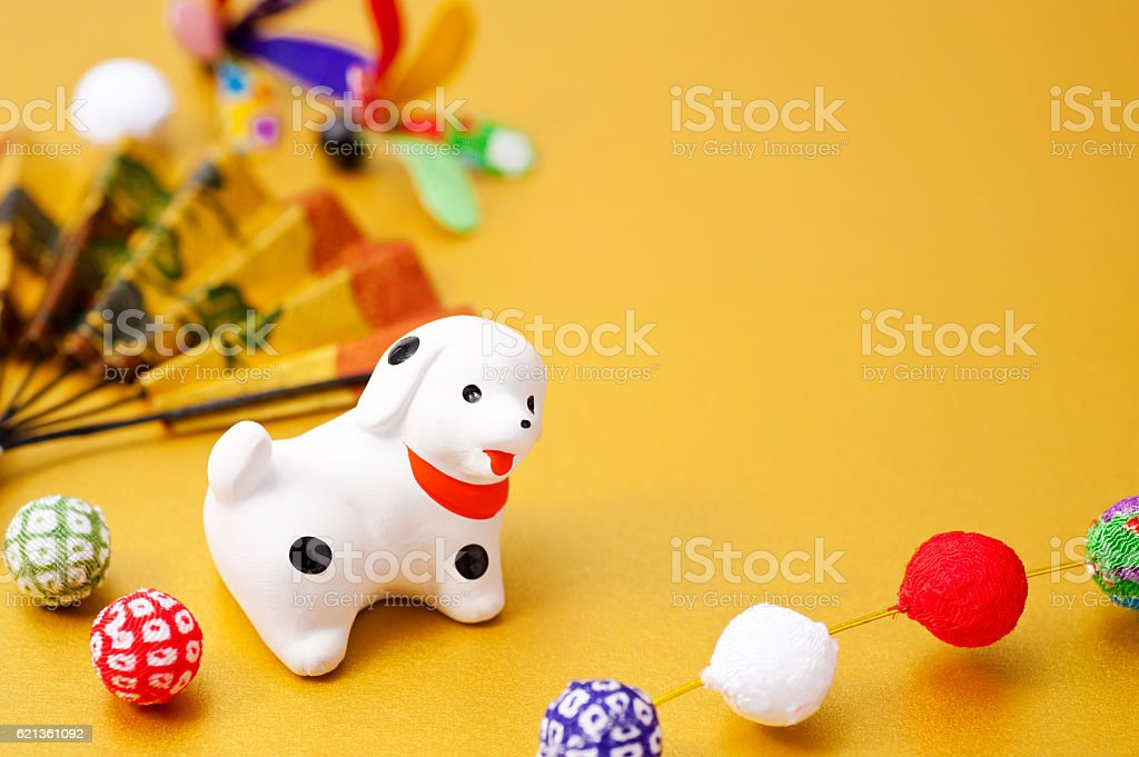New Year decorations and dog zodiac figurine stock photo