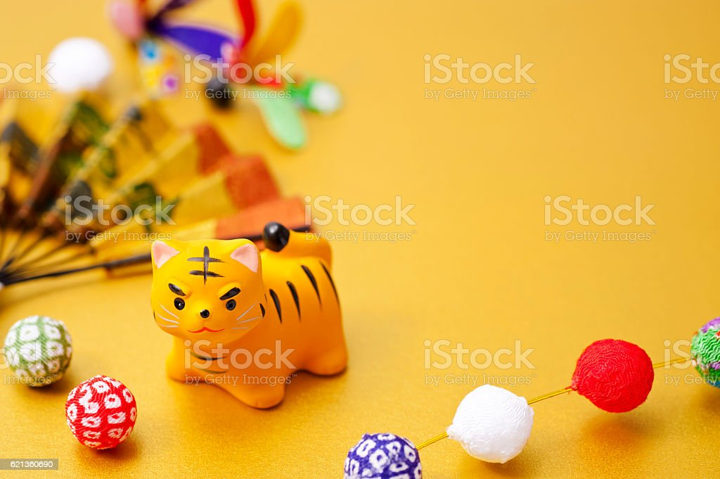New Year decorations and tiger Zodiac figurine stock photo