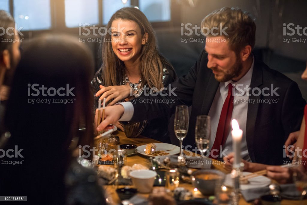 New Year dinner party stock photo