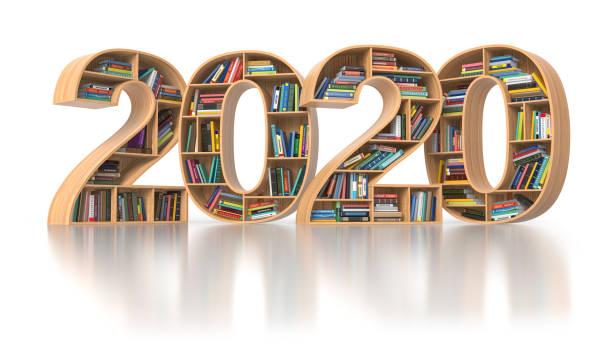 2020 Neujahrsbildungskonzept. Bücherregale mit Büchern in Form von Text 2020. – Foto