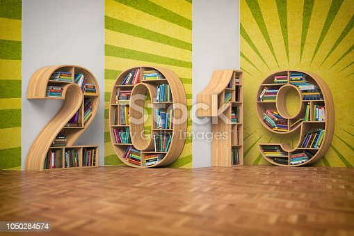 istock 2019 new year education concept. Bookshelvs with books in the form of text 2019. 1050284574