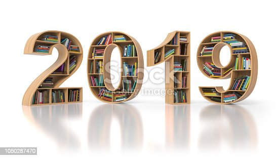 istock 2019 new year education concept. Bookshelvs with books in the form of text 2019. 1050287470
