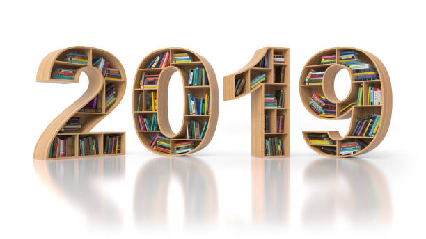2019 new year education concept. Bookshelvs with books in the form of text 2019. stock photo
