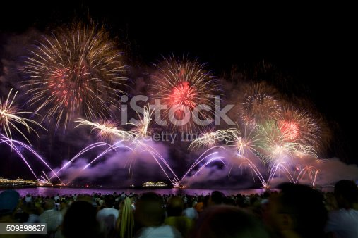 Fireworks display at Copacabana beach new years eve