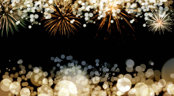 New Year fireworks background New Year fireworks and blurred bokeh lights background 2020 2029 stock pictures, royalty-free photos & images