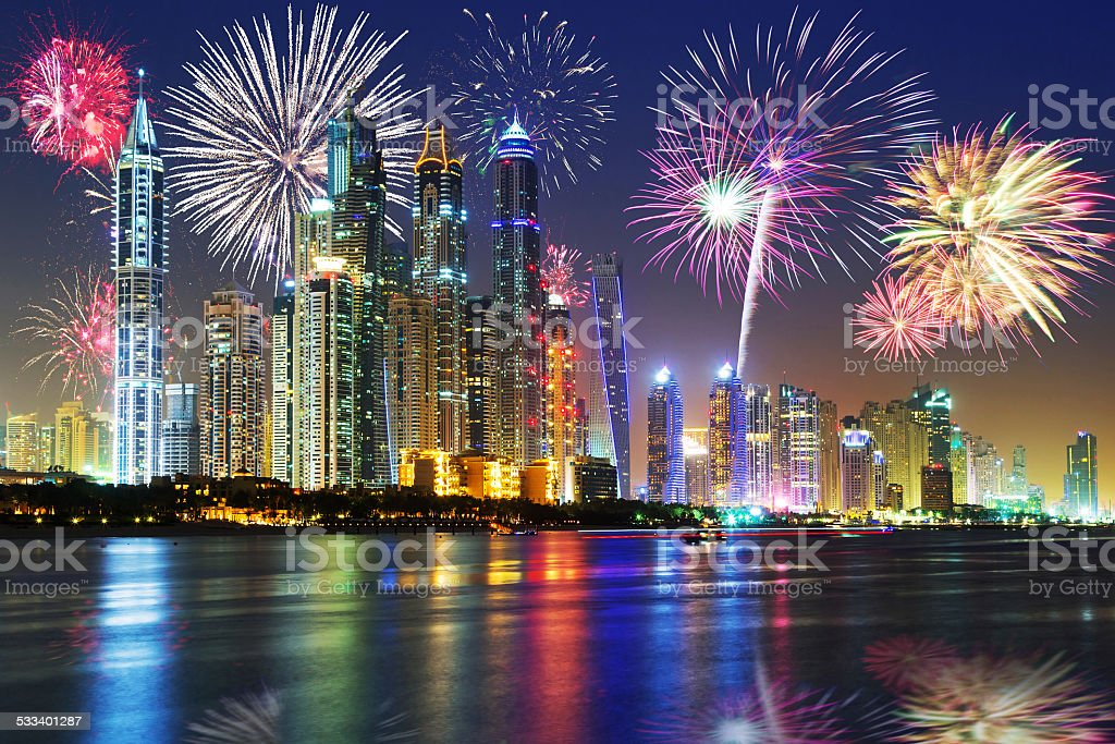 New Year fireworks display in Dubai stock photo