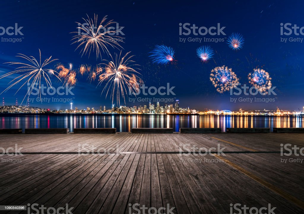 2019 New Year fireworks display over puget sound,seattle Seattle ,Washington State,USA . 2019 Stock Photo