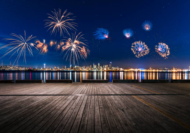 2019 new year fireworks display over puget sound,seattle - fireworks stock pictures, royalty-free photos & images