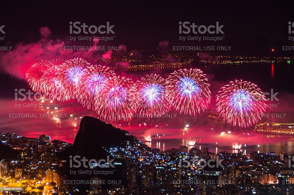 New Year Fireworks in Copacabana stock photo