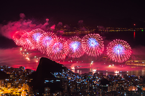 New Year Fireworks In Copacabana Stock Photo - Download Image Now