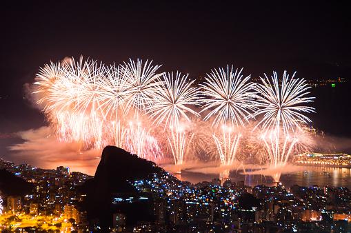 Rio de Janeiro, Brazil - December 31, 2015: Worlds famous New Year firework show at Copacabana Beach.