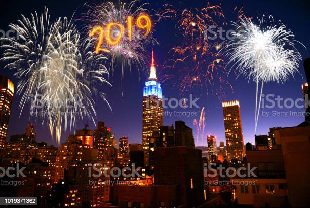 2019 New Year fireworks in New York City