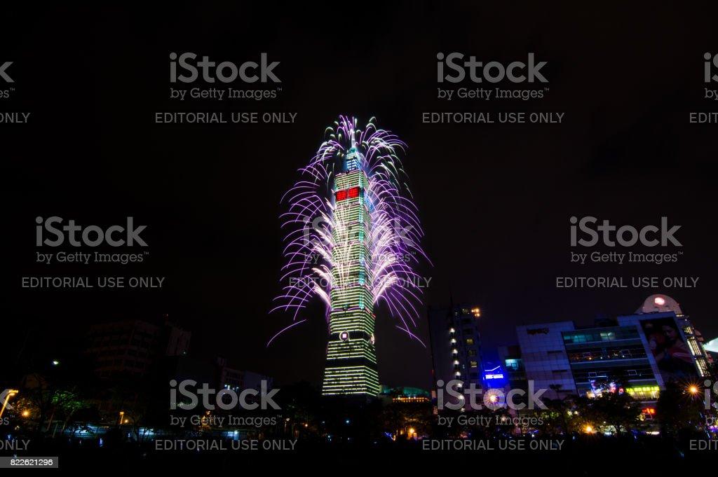 TAIPEI, Taiwan - January 1, 2013: New Year Fireworks of Taipei 101 at night time to celebrate happy new year stock photo