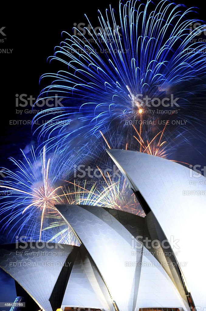New Year Fireworks Over Sydney Opera House royalty-free stock photo