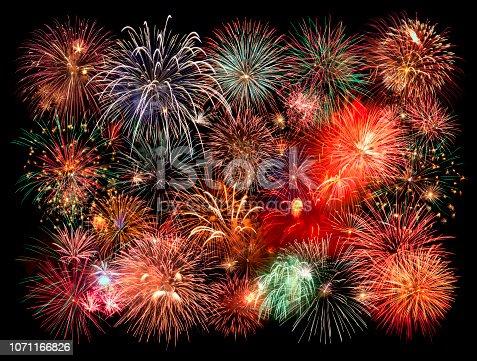 New year fireworks on black background