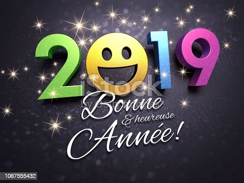 istock 2019 New Year French greeting card for smiling 1067555432