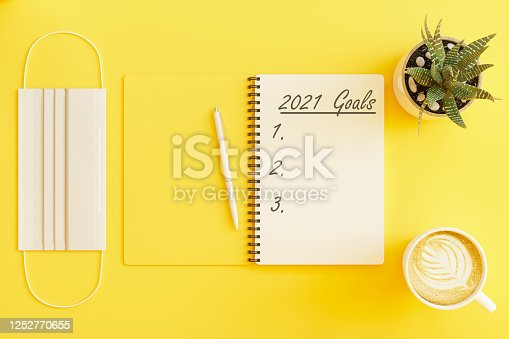2021 New Year Goal Concetps. Office Supplies with Medical Mask.