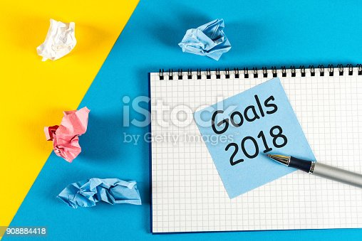 888342518 istock photo 2018 New year goal ,plan, action text on notepad with office accessories.Business motivation,inspiration concepts 908884418