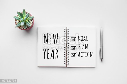 New year goal,plan,action text on notepad with office accessories.Business motivation,inspiration concepts