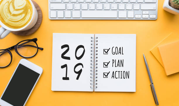 2019 new year goal,plan,action text on notepad with office accessories.Business motivation,inspiration 2019 new year goal,plan,action text on notepad with office accessories.Business motivation,inspiration concepts 2019 stock pictures, royalty-free photos & images