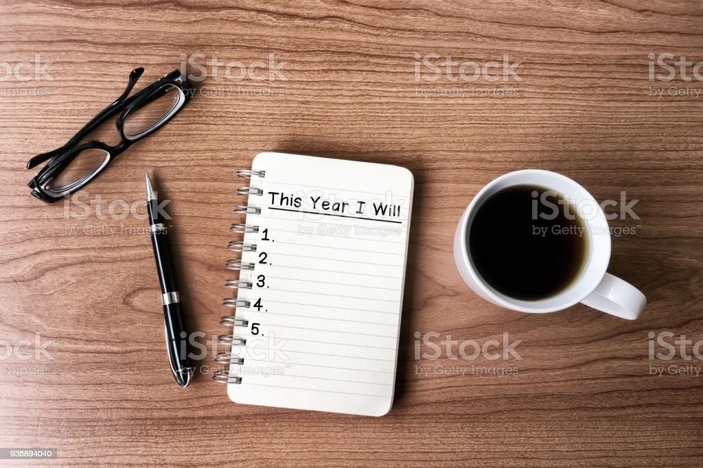 New year goals and resolution concept stock photo