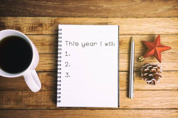 neujahr-ziele-konzept - ideen für silvester stock-fotos und bilder