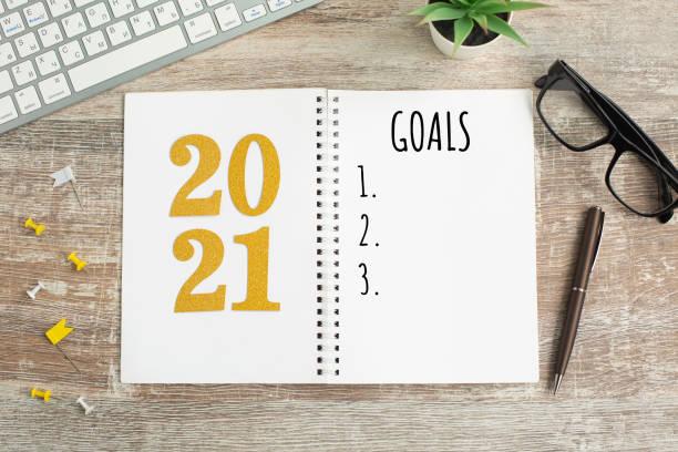 New Year goals List 2021 on wooden desk. stock photo