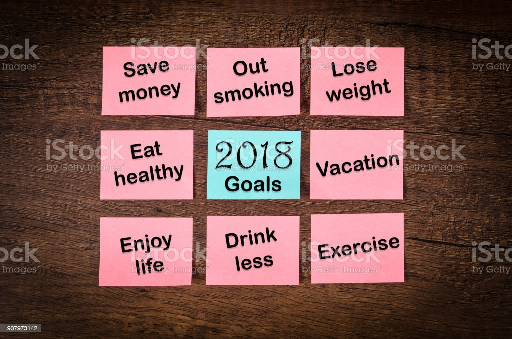 new year goals or resolutions 2018 stock photo